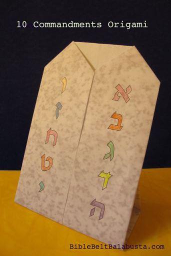 Shavuot Origami for Kids: Ten Commandments (printable)